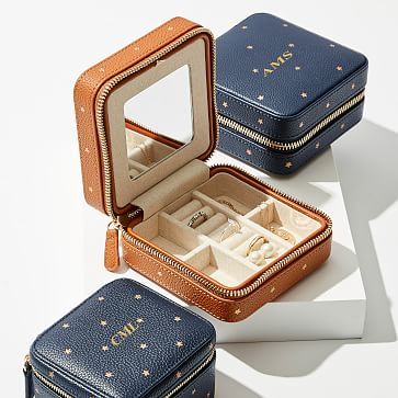 Small Travel Jewelry Case Foil Debossed Mark And Graham