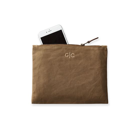 Bag phone case Buffalo Check Waxed Canvas Zipper Pouch clutch wallet toiletry bag