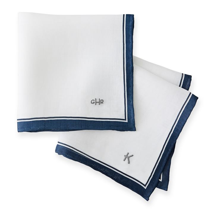 White Linen Handkerchief Personalized With Monogram Suitable For Minimalist Couples