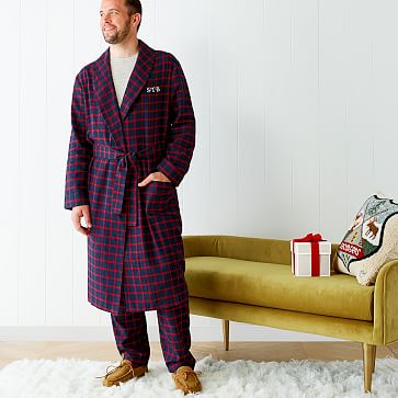 Men S Classic Plaid Monogrammed Robe Mark And Graham