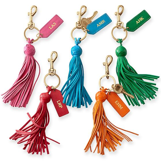 Bag Chain Leather Handmade Tassel Key Chain Different Colors Available.