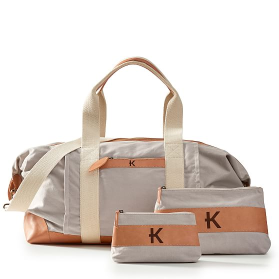 Personalized Canvas And Leather Weekender Bag Mark And Graham