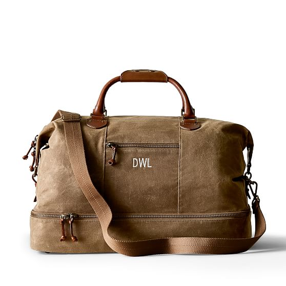 Personalized Waxed Canvas Duffel Monogrammed Waxed Canvas Mens Weekender Mens Travel Bag Khaki Graduation Fathers Day Mens Birthday