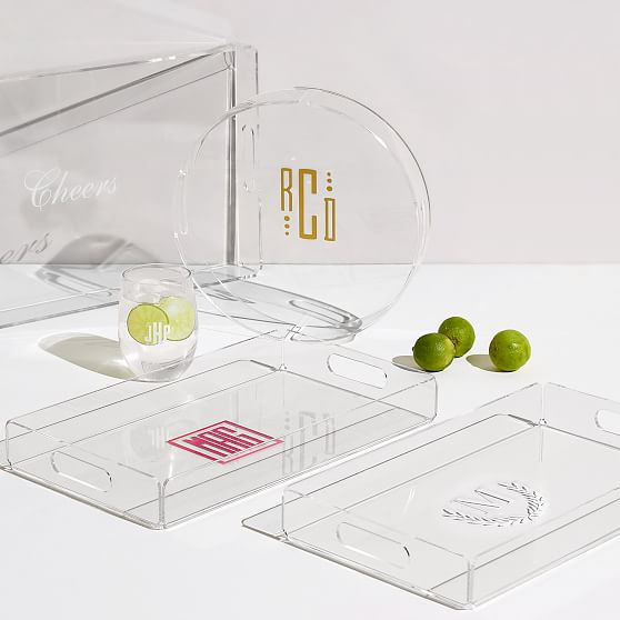 Clear Acrylic Tray With Monogram Decal